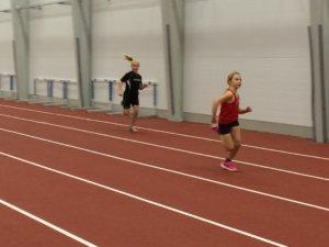 Amanda Paaske Frederiksen vinder 60 meter ved Sidste Chance i Gigantium i Aalborg 27. december 2016. Foto: Paaske Frederiksen.