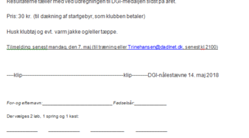 DGI nålestævne i Esbjerg den 14. maj 2018